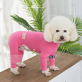 Dog Pajamas Puppy Clothes Solid Colored Keep Warm Winter Dog Clothes Puppy Clothes Dog Outfits Black Purple Red Costume for Girl and Boy Dog Plush Fabric XS S