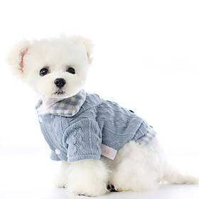 Dog Coat Sweater Plaid / Check Casual / Daily Cute Casual / Daily Winter Dog Clothes Puppy Clothes Dog Outfits Warm Blue Pink Costume for Girl and Boy Dog Poly
