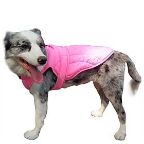 Dog Coat Vest Solid Colored Classic Style Sports Outdoor Winter Dog Clothes Puppy Clothes Dog Outfits Warm Black Red Pink Costume for Girl and Boy Dog Polyster