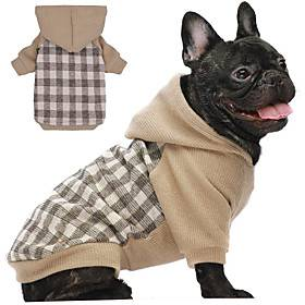Dog Hoodie Plaid Basic Leisure Casual / Daily Dog Clothes Puppy Clothes Dog Outfits Breathable Brown Costume for Girl and Boy Dog Knitted S M L XL