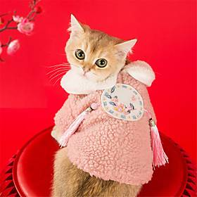 Dog Cat Coat cheongsam Dog clothes Flower Fashion Chinoiserie Cute Casual / Daily Spring Festival Dog Clothes Puppy Clothes Dog Outfits Breathable Pink Costume