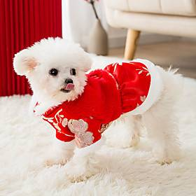 Dog Cat Coat cheongsam Dog clothes Flower Fashion Chinoiserie Cute Casual / Daily Spring Festival Winter Dog Clothes Puppy Clothes Dog Outfits Breathable Red C