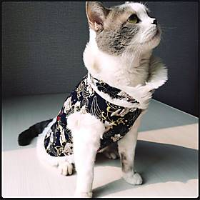 Dog Cat Coat cheongsam Dog clothes Flower Fashion Chinoiserie Cute Casual / Daily Spring Festival Dog Clothes Puppy Clothes Dog Outfits Breathable Blue Costume