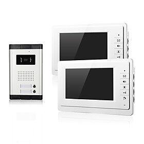 Wired Video Intercom Doorbell 7 Inch Hands-free 800480 Pixel One to Two Video Doorphone Door Phone Doorbell Night Vision Cmos Camera 2 Monitors for Home Door A