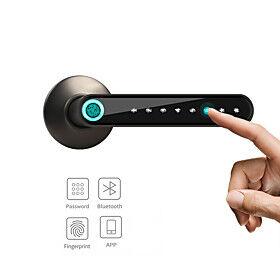 WAFU WF-016 Smart Biometric Fingerprint Door Lock Smart Bluetooth Password Handle Lock APP Unlock Keyless Entry  USB Battery Works with iOS/Android Home/Office