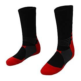 1 pair professional basketball socks athletics socks outdoor sports socks stocking(rose red)