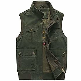 Men's Casual Utility Outdoor Photo Journalist Sports Vest Multi Pockets Quick-Drying Waistcoat Outerwear (X-Large, Army Green)