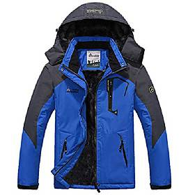 YIRUIYA Mens Outdoor Sports Jackets Softshell Warm Winter Waterproof Windproof Ski Mountain Hiking Rain Coat with Zip Pockets Hood Blue Size 2XL