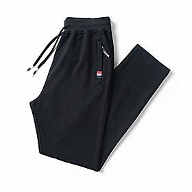 Men's Running Trousers Men's Sports Trousers Winter Sports Pants Straight Knit Pants Feet Closed Students' Casual Outdoor Sweatpants For Exercise (Color : Blac