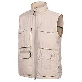 Mens's Lightweight Quick Dry Fishing Safari Vest for Outdoor Sports with Multi-Pockets Khaki Size Medium