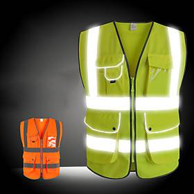 Reflective Vest Safety Vest Running Gear Breathable Durable Class 2 High Visibility Zipper Reflective Strip With Pockets Portable Lightweight Comfy Versatile f