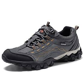 Men's Running Shoes Hiking Shoes Sneakers Anti-Slip Breathable Wearable Comfortable Hiking Outdoor Exercise Running Spring, Fall, Winter, Summer Black Grey Kha