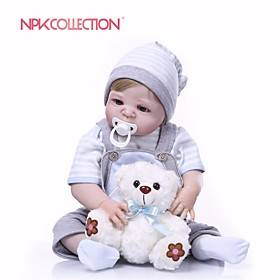 NPKCOLLECTION 24 inch Reborn Doll Baby Boy Gift New Design Artificial Implantation Blue Eyes Full Body Silicone Silica Gel Vinyl with Clothes and Accessories f