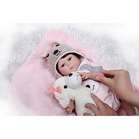 NPKCOLLECTION 20 inch Reborn Doll Baby Girl Newborn lifelike Artificial Implantation Brown Eyes Full Body Silicone Silica Gel Vinyl with Clothes and Accessorie