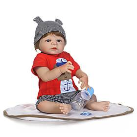 NPKCOLLECTION 20 inch Reborn Doll Baby Boy Cute New Design Artificial Implantation Blue Eyes Full Body Silicone Silica Gel Vinyl with Clothes and Accessories f