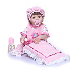 NPKCOLLECTION 24 inch Reborn Doll Baby Girl Newborn Gift Artificial Implantation Brown Eyes Full Body Silicone Silica Gel Vinyl with Clothes and Accessories fo