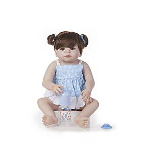 22 inch Reborn Doll Baby Girl Kids / Teen Full Body Silicone with Clothes and Accessories for Girls' Birthday and Festival Gifts