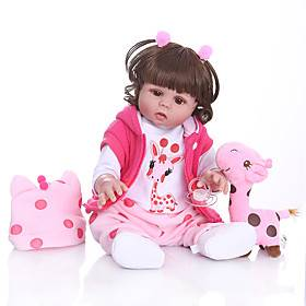 NPKCOLLECTION 20 inch Reborn Doll Baby Baby Girl Gift Cute Artificial Implantation Brown Eyes Full Body Silicone Silicone Silica Gel with Clothes and Accessori