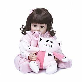 NPKCOLLECTION 22 inch Reborn Doll Baby Baby Girl Cute Hand Made Artificial Implantation Brown Eyes Full Body Silicone Silicone Silica Gel with Clothes and Acce
