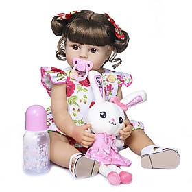 22 inch Reborn Doll Baby Baby Girl Cute New Design Artificial Implantation Brown Eyes Full Body Silicone Silicone Silica Gel with Clothes and Accessories for G