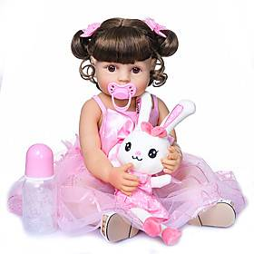 22 inch Reborn Doll Baby Baby Girl lifelike Gift Artificial Implantation Brown Eyes Full Body Silicone Silicone Silica Gel with Clothes and Accessories for Gir