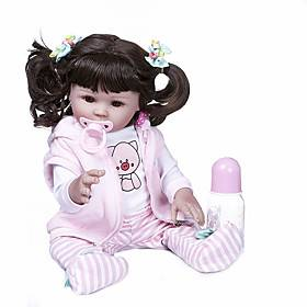NPKCOLLECTION 20 inch Reborn Doll Baby Baby Girl Newborn Hand Made Artificial Implantation Brown Eyes Full Body Silicone Silicone Silica Gel with Clothes and A