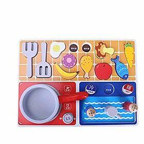 gourmet play kitchen starter accessories wooden play set pretend cooking toy