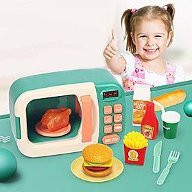 electronic microwave oven set toy, developmental educational pretend play set, ideal kitchen appliances microwave oven toy sounds amp; lights gift for boys gir
