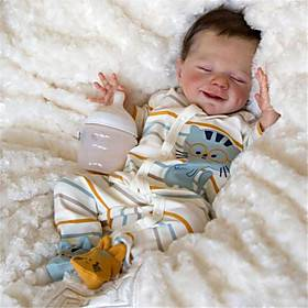 20 inch Reborn Doll Baby  Toddler Toy Baby Girl Reborn Baby Doll April Newborn lifelike Hand Made Simulation Floppy Head Cloth Silicone Vinyl with Clothes and
