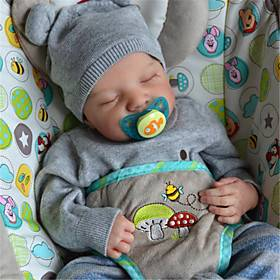 20 inch Reborn Doll Baby  Toddler Toy Reborn Baby Doll Levi Newborn lifelike Hand Made Simulation Floppy Head Cloth Silicone Vinyl with Clothes and Accessories