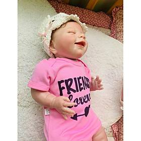 NPKCOLLECTION 20 inch Reborn Doll Baby Gift Hand Made Artificial Implantation Blue Eyes Nonwoven 3/4 Silicone Limbs and Cotton Filled Body with Clothes and Acc