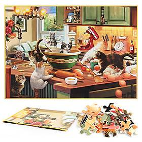 1000 Pieces Of Paper Jigsaw Puzzles For Cats In The Kitchen