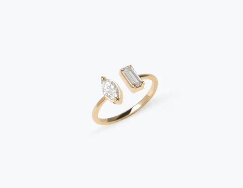 Vrai & Oro Mix Diamond Cuff Ring - 14K Yellow Gold   Ring  - Yellow Gold - Size: 6.25