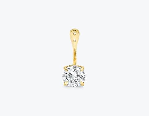 Vrai & Oro Solitaire Round Brilliant Diamond Drop Ear Jacket - 14K Yellow Gold   Earrings  - Yellow Gold - Size: 1.0ct
