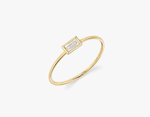 Vrai & Oro Baguette Diamond Bezel Ring - 14K Rose Gold   Ring  - Rose Gold - Size: 9