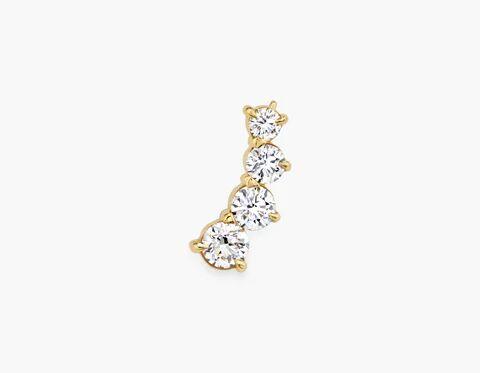 Vrai & Oro Round 4-Diamond Ear Arc - 14K White Gold   Earrings  - White Gold