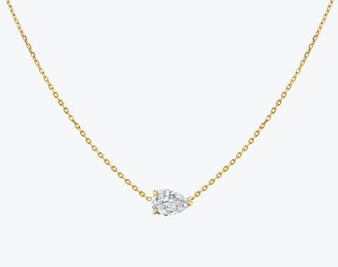 Vrai & Oro Solitaire Pear Diamond Necklace - 14K White Gold   Necklace  - White Gold - Size: 0.25ct