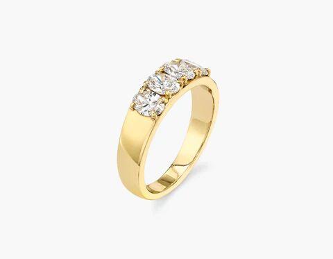 Vrai & Oro Oval Diamond Tetrad - 14K Yellow Gold   Ring  - Yellow Gold - Size: 3