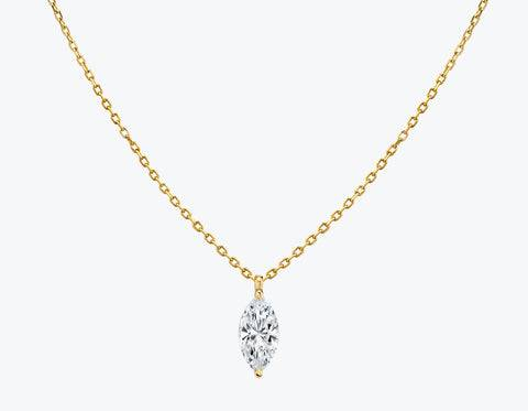 Vrai & Oro Solitaire Marquise Diamond Pendant - 14K Yellow Gold   Necklace  - Yellow Gold - Size: 0.50ct