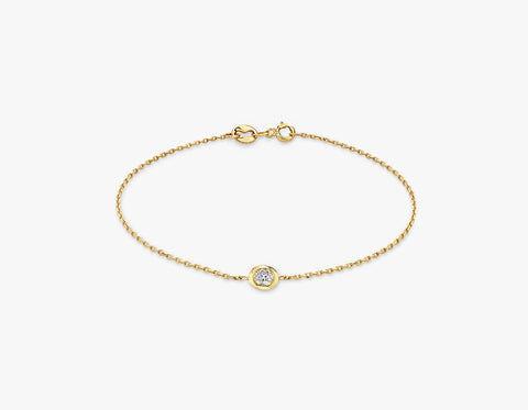Vrai & Oro Round Diamond Bezel Bracelet - 14K Yellow Gold   Bracelet  - Yellow Gold - Size: 6.5