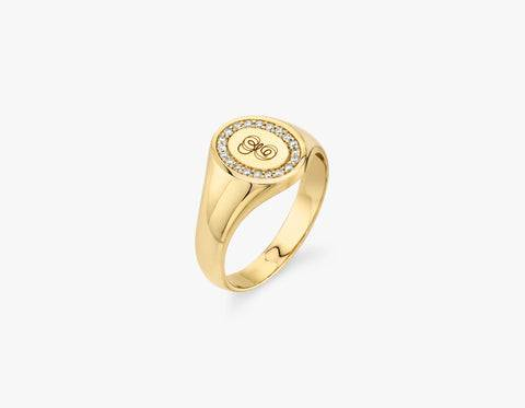 Vrai & Oro The Pave Signet Ring - 14K White Gold   Ring  - White Gold - Size: 4.5