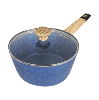 Concord Art of Cooking 3Qt. Granite Nonstick Coated Cast Aluminum Pot with Lid Saucepan Induction Compatible #Ocean Blue  - Size: 1