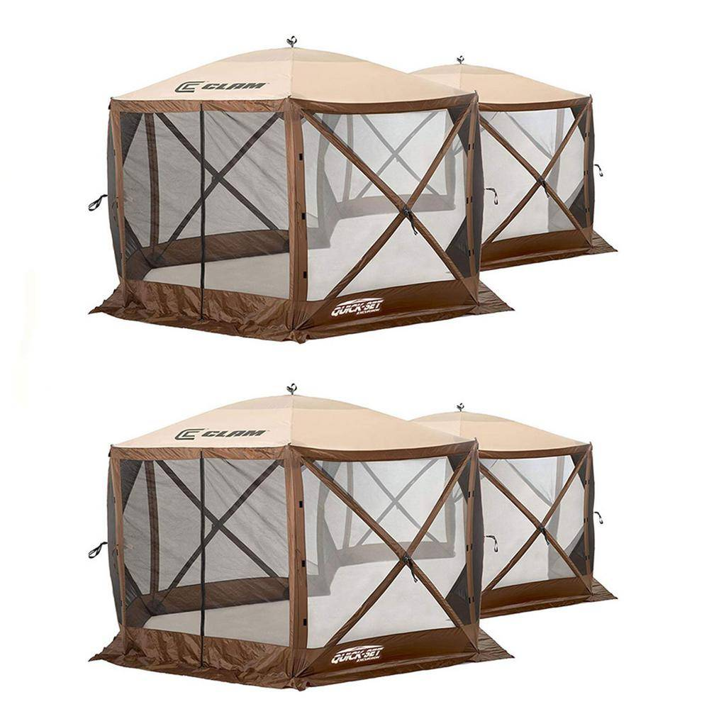 Clam Quick Set Excursion Pop Up 2-Room Outdoor Gazebo Canopy Shelter (2-Pack)