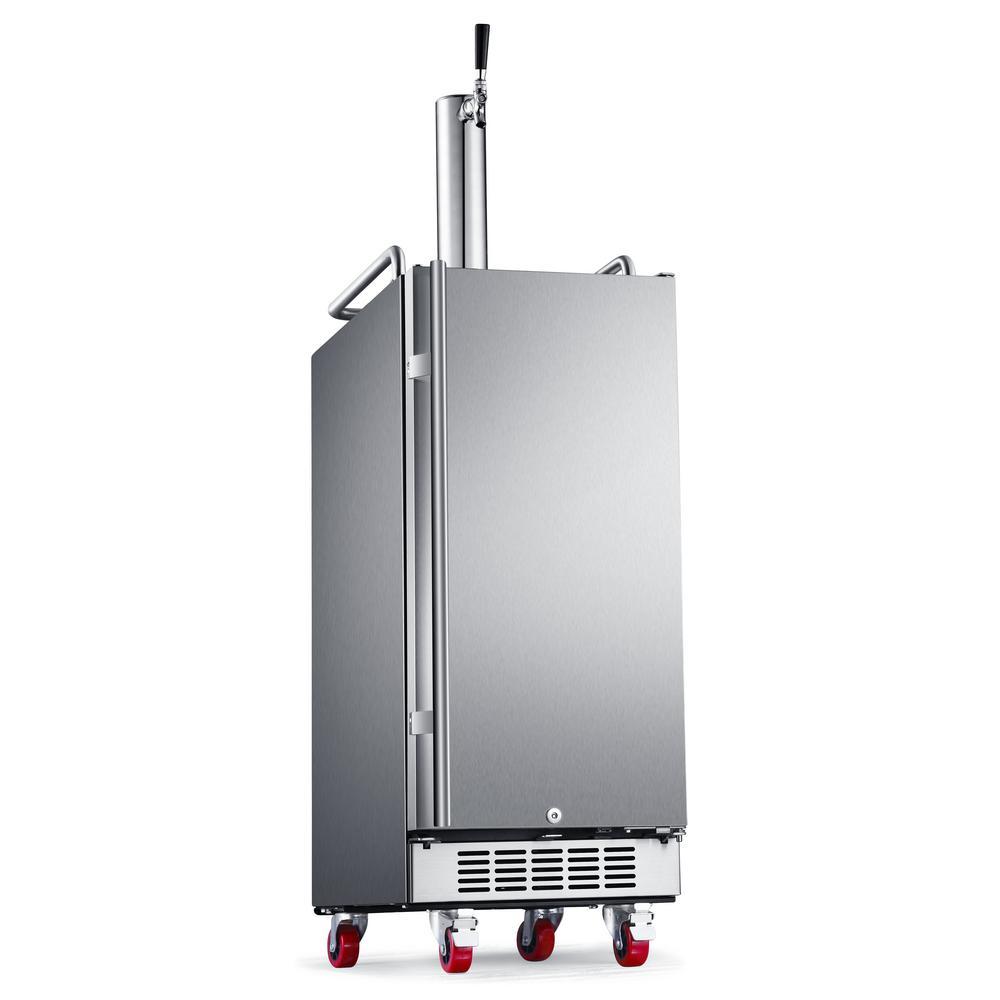 EdgeStar Single Tap 15 in. Outdoor 1/4 Barrel Beer Keg Dispenser with Air Cooled Beer Tower in Stainless Steel, Black Cabinet/Stainless Steel door