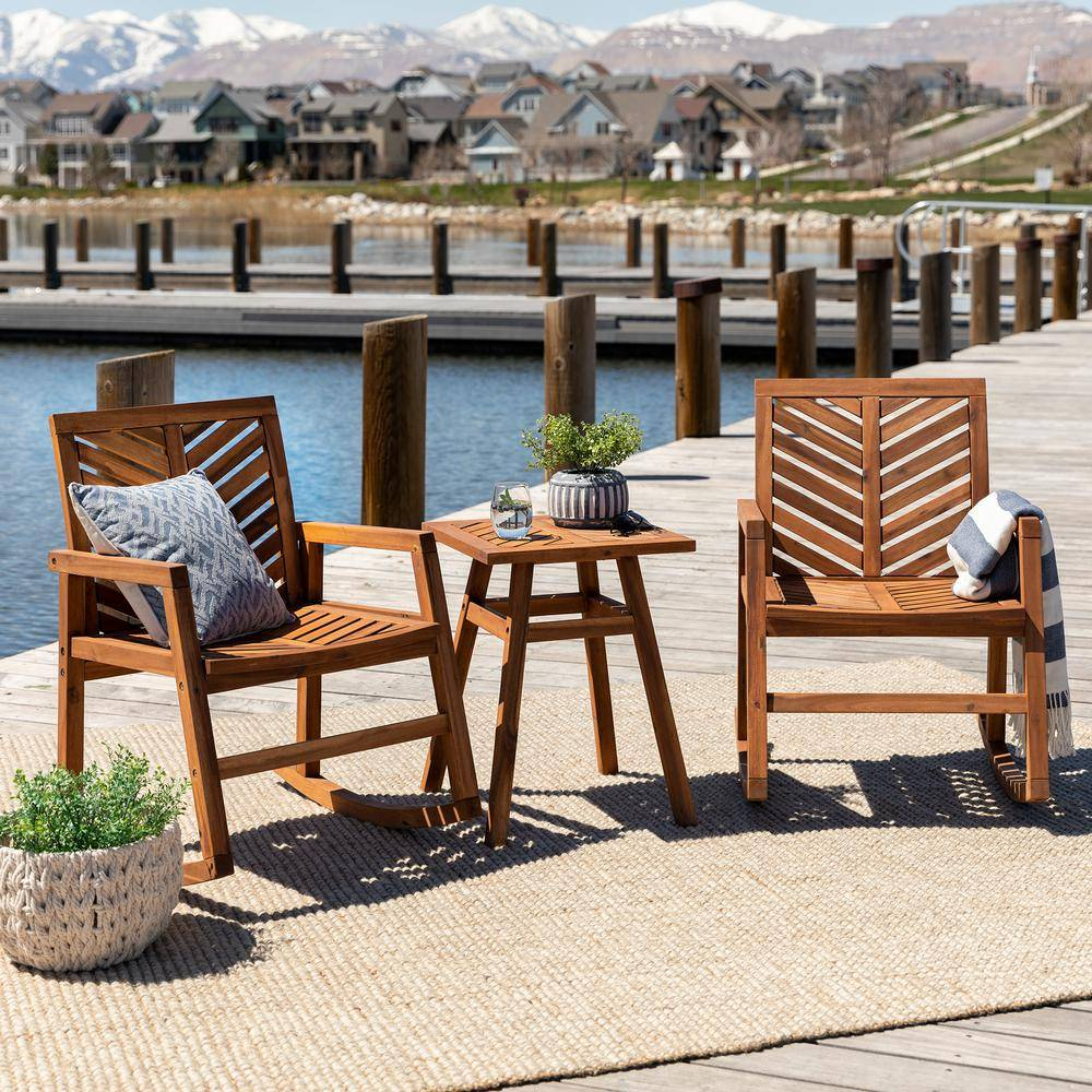 Walker Edison Furniture Company Brown 3-Piece Rocking Wood Outdoor Chair Chat Set