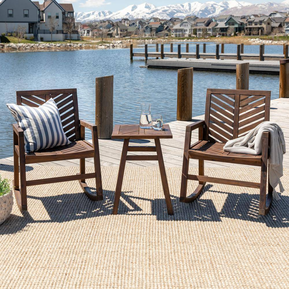Walker Edison Furniture Company Dark Brown 3-Piece Rocking Wood Outdoor Chair Chat Set