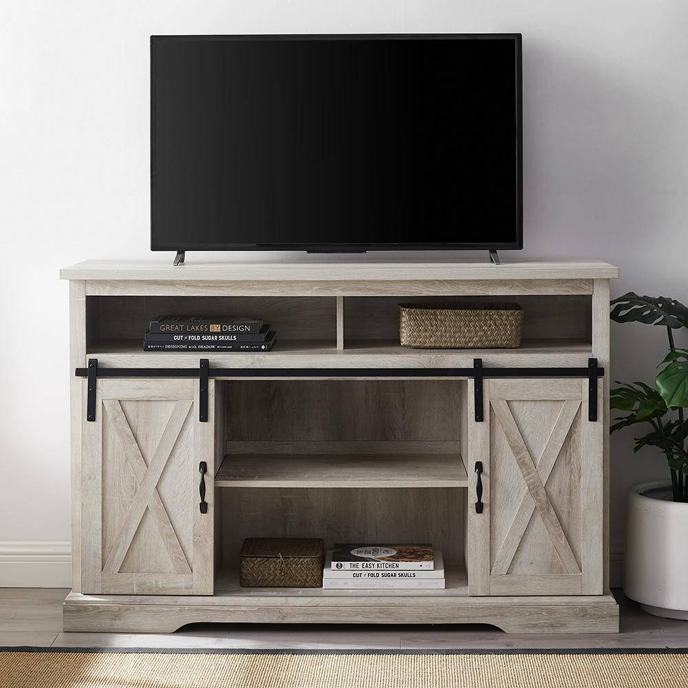 Walker Edison Furniture Company 52 in. White Oak Composite TV Stand 56 in. with Doors