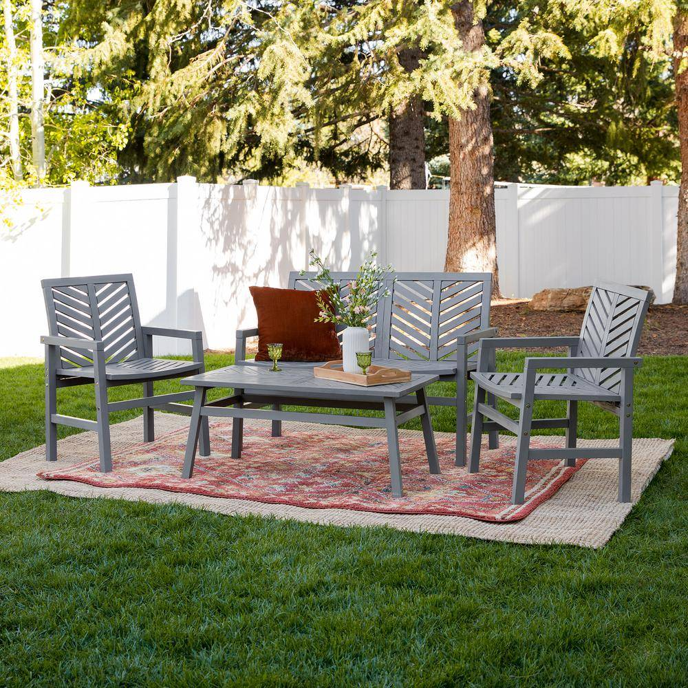 Walker Edison Furniture Company Chevron Grey Wash 4-Piece Wood Outdoor Patio Chat Set