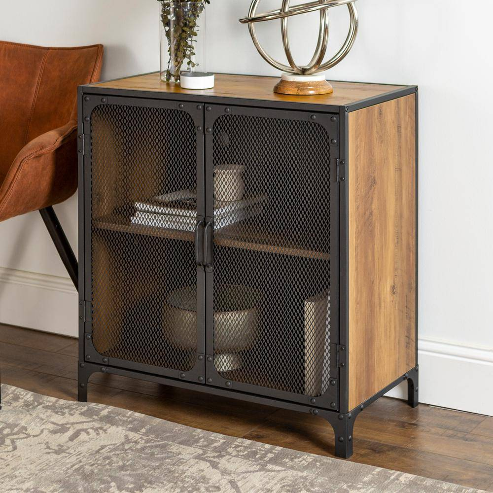 Walker Edison Furniture Company 30 in. Rustic Barnwood Industrial Accent Cabinet with Mesh