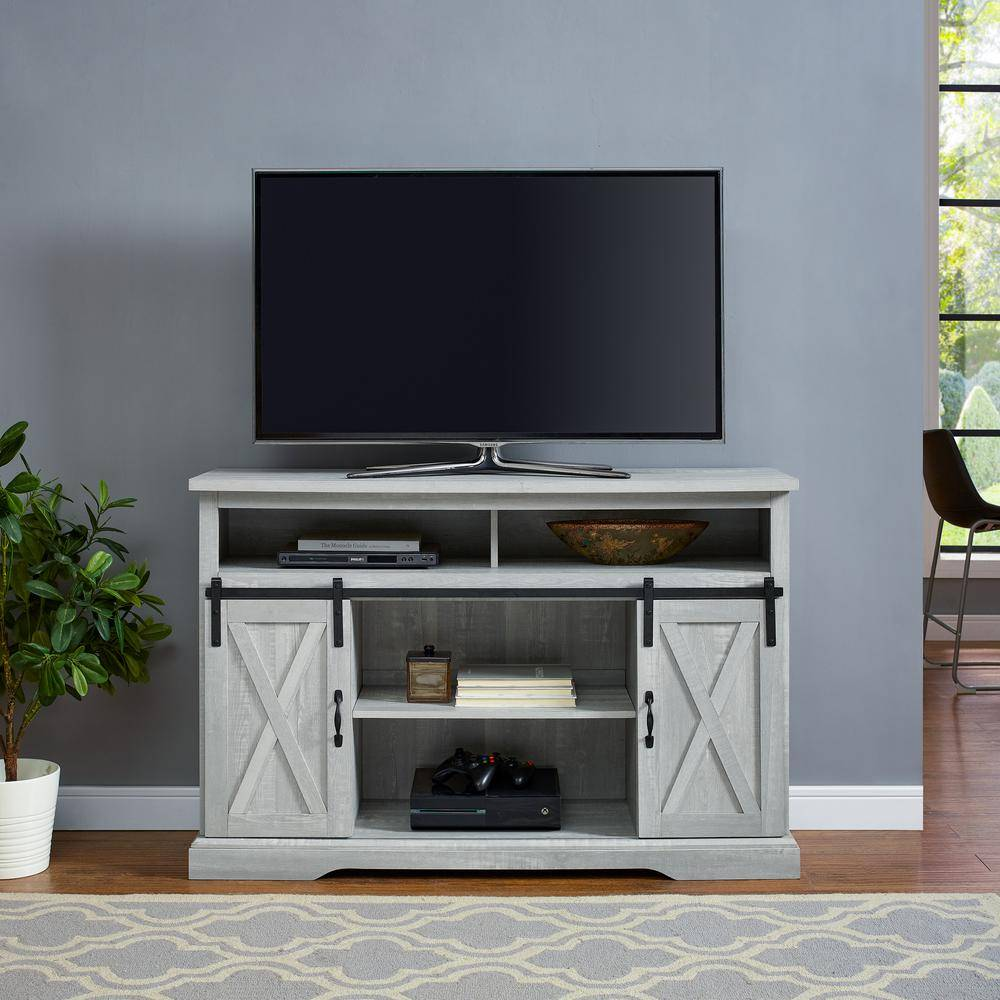 Walker Edison Furniture Company 52 in. Stone Gray Composite TV Stand 56 in. with Doors, Stone Grey